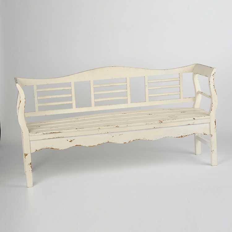 Distressed White Wood Bench Kirklands