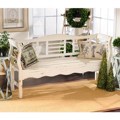 Distressed White Wood Bench