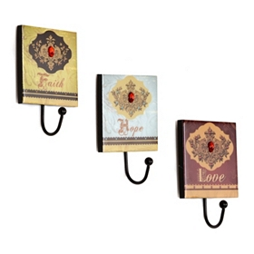 Faith, Love, and Hope Wall Hook, Set of 3