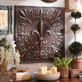 Bronze Fleur-de-lis Tile Wall Plaque