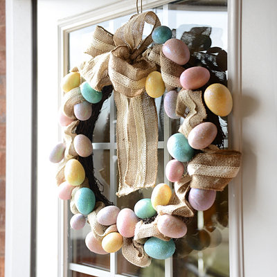 Burlap & Lace Easter Egg Wreath