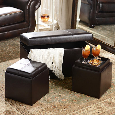Brown Faux Leather Storage Bench & Ottoman Set
