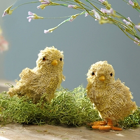 Yellow Burlap Chick Statues