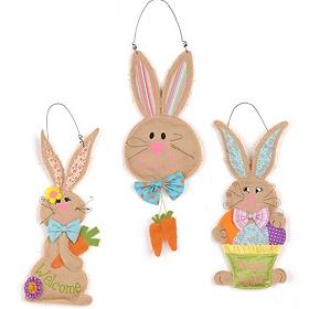 Burlap Easter Bunny Wall Hangers
