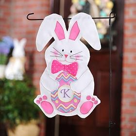 Monogram Easter Bunny Flag