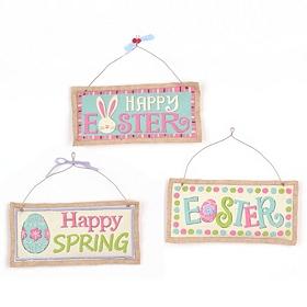 Burlap Easter Plaques
