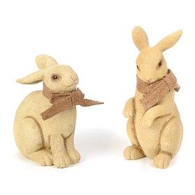 Burlap Bow Bunny Statue
