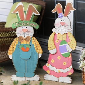 Wooden Bunny Easel Statues