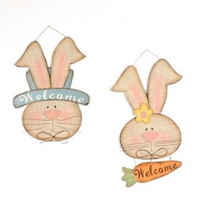 Wooden Bunny Welcome Plaques