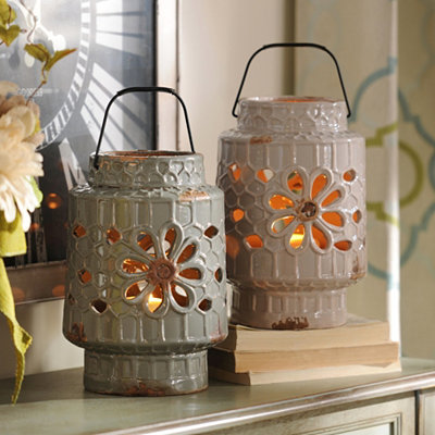 Ceramic Floral Cut-Out Lantern