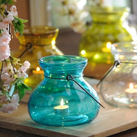 Colored Glass Candle Lantern