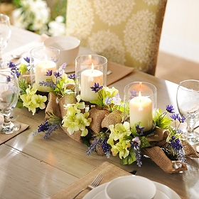 Lavender Burlap Centerpiece