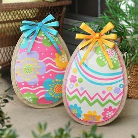 Burlap Easter Egg Statues