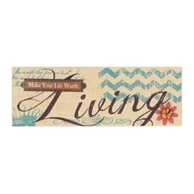 Life Worth Living Burlap Wall Plaque