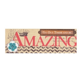 Be Amazing Burlap Wall Plaque
