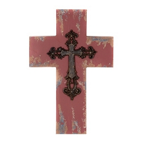 Red Antiqued Wood Cross