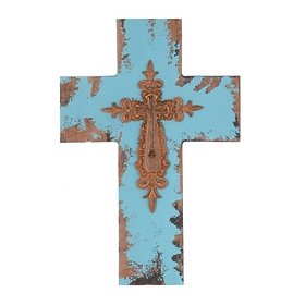 Turquoise Antiqued Wood Cross