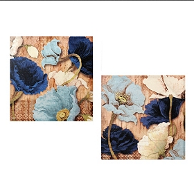 Blue Dancing Poppies Canvas Art Print