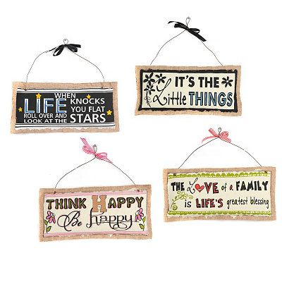 Loving Life Inspirational Burlap Plaque