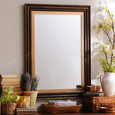 Dark Bronze & Gold Framed Mirror, 33x45