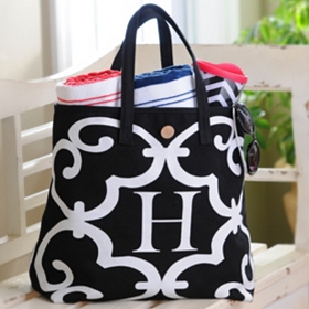 Black & White Monogram Button Tote