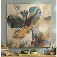 Abstract Aqua & Brown Floral Canvas Art Print