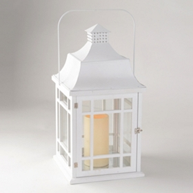 White Lantern with LED Candle