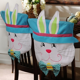Easter Boy Bunny Chair Covers, Set of 2