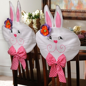 Easter Girl Bunny Chair Covers, Set of 2