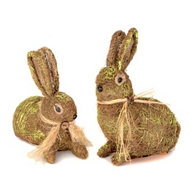 Brown Moss Bunny Statues, Set of 2