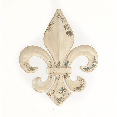 Cream Metal Fleur-de-lis Wall Plaque