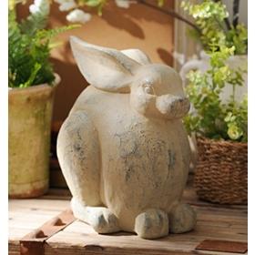 Gray Bunny Statue