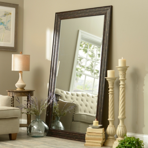 Exceptional Distressed Coffee Bean Framed Mirror