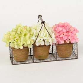 Hydrangea Wire Basket Arrangement