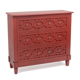 Red Hexagon 3-Drawer Chest