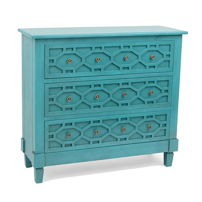 Turquoise Hexagon 3-Drawer Chest