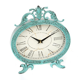 Turquoise Scroll Top Clock