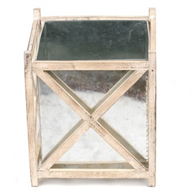 Galvanized Metal & Wood Planter, 15 in.