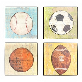 Vintage Play Ball Wall Plaques