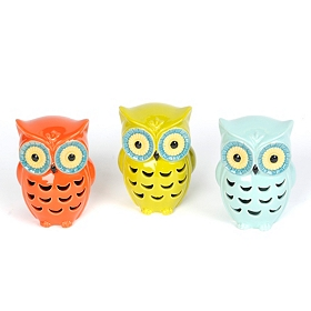 Ceramic Cutout Owl Statues