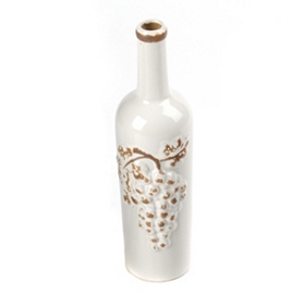 White Crackled Wine Bottle Vase