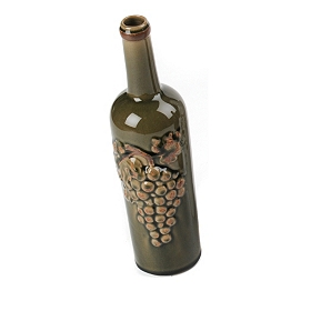 Crackled Glaze Green Wine Bottle Vase