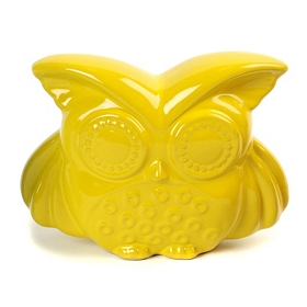 Saffron Yellow Bright Eyes Ceramic Owl Statue