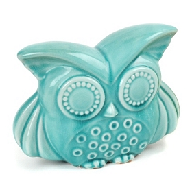 Summer Blue Bright Eyes Ceramic Owl Statue
