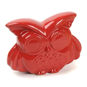 Red Bright Eyes Ceramic Owl Statue
