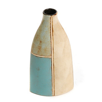 Coastal Blue Triangle Vase