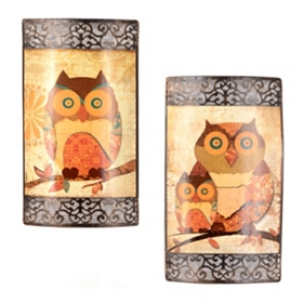 Owl Family Portrait Metal Wall Plaque, Set of 2
