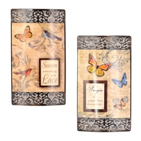 Birds & Butterflies Metal Wall Plaque, Set of 2