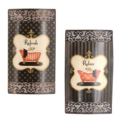 Relax & Refresh Metal Wall Plaque, Set of 2