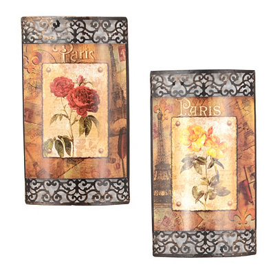 Floral Scrapbook Metal Wall Plaque, Set of 2